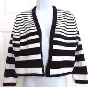 Calvin Klein Black and White Open Front Cardigan